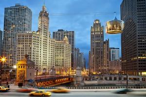 Bungelen boven Chicago foto